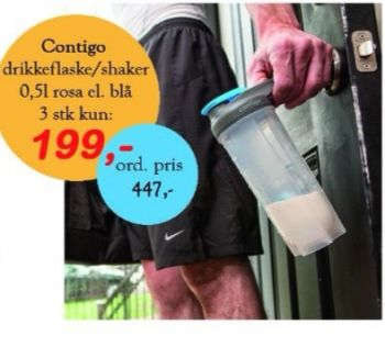 Contigo drikkeflaske/shaker 0,5 l. 3.stk